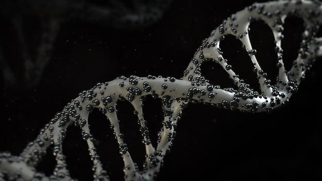 3d-medische render, geïnfecteerd dna-helixconcept