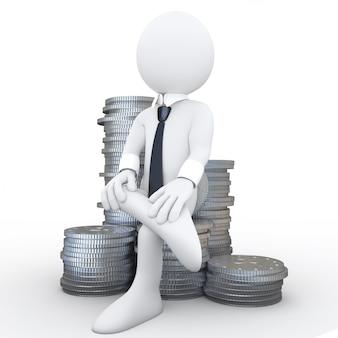 3d menselijke zittend op een stapel munten