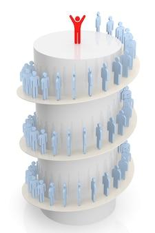 3d-mensen lopen op trappen naar succes. 3d-rendering. geïsoleerde witte achtergrond.
