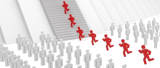 3d-mensen lopen op trappen naar succes