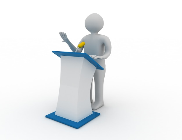 3d-mensen praten achter het spreekpodium