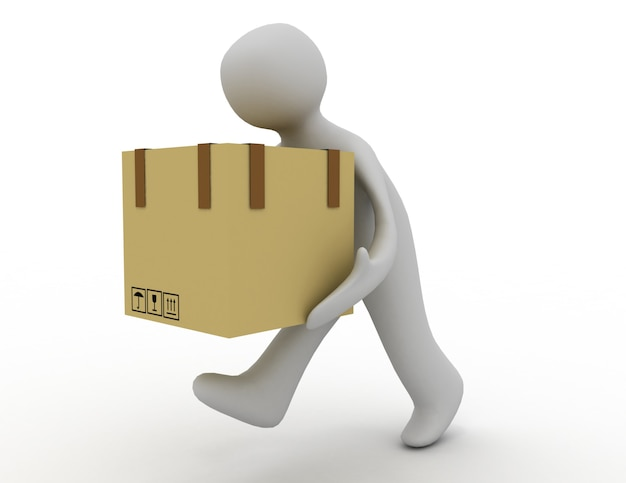 3d mensenpictogram dat met een doos loopt. 3d-gerenderde afbeelding