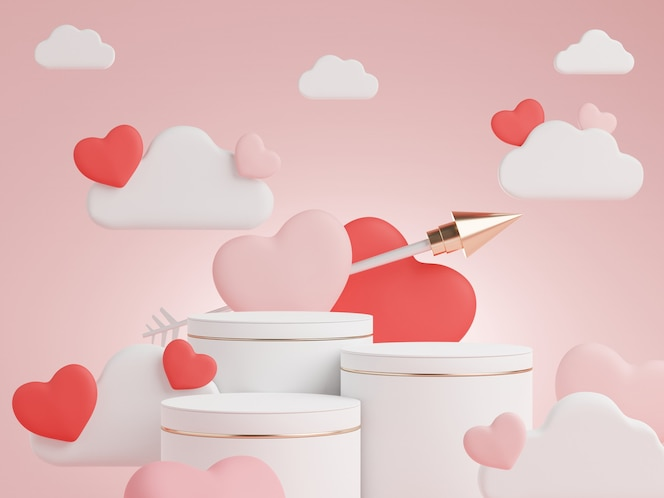3d minimaal vertoningspodium met mooie hartachtergrondgeluid voor valentijnsdag.