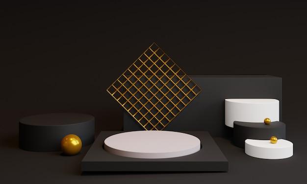 3d-minimale vormen met podium en decoratieve elementen
