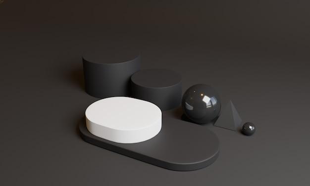 3d-minimale zwarte geometrische vormen. 3d-afbeelding.