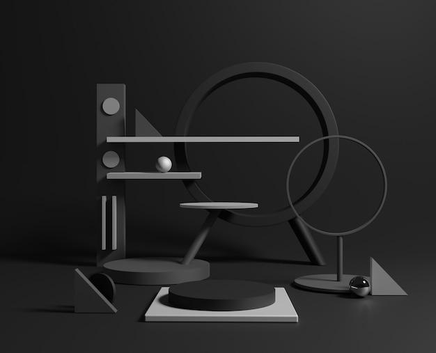 3d-minimale zwarte geometrische vormen.