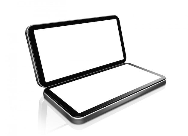 3d mobiele telefoon - draagbare handheld gameconsole met twee schermen. geïsoleerd op wit met 2 uitknippad (scherm en wereldtoneel)