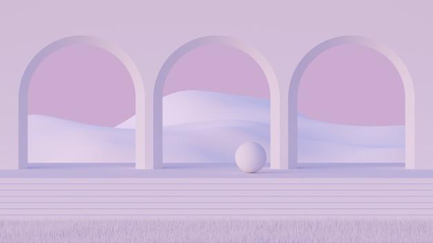 3d mock-up podium in de stijl van het midden van de eeuw met abstracte minimalistische arcade en berglandschap in lichtroze palet.
