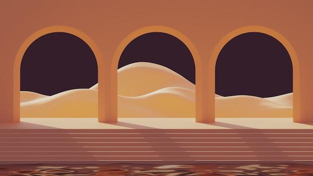 3d mock-up podium in de stijl van het midden van de eeuw met abstracte minimalistische bogen op water en berglandschap bij zonsondergang.