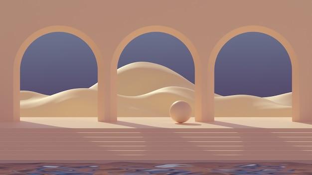 3d mock-up podium in de stijl van het midden van de eeuw met abstracte minimalistische bogen op water en berglandschap bij zonsopgang in een warm natuurlijk aards palet.