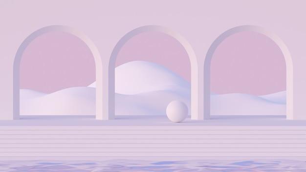 3d mock-up podium in de stijl van het midden van de eeuw met abstracte minimalistische bogen op water en berglandschap