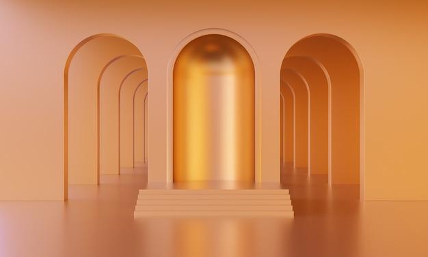 3d mock-up podium in lege abstracte minimalistische gouden of oranje kamer met bogen voor productpresentatie. stijlvol modern platform in de stijl van het midden van de eeuw. 3d render