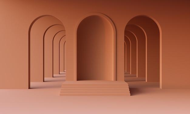 3d mock-up podium in lege abstracte minimalistische terracotta kamer met bogen voor productpresentatie. stijlvol modern platform in de stijl van het midden van de eeuw in een aards of gebrand oranje palet. 3d render