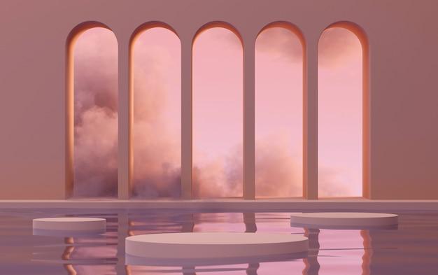 3d mock-up podium met abstracte bogen op water in wolken in zonsondergang roze licht