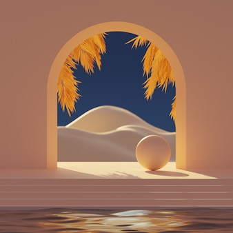 3d mock-up podium met boog en gouden palmtakken met abstract berglandschap in de stijl van het midden van de eeuw.