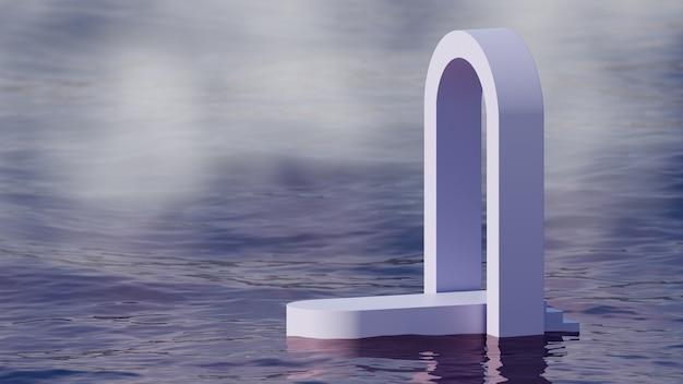 3d mock-up podium met boog op water in mist