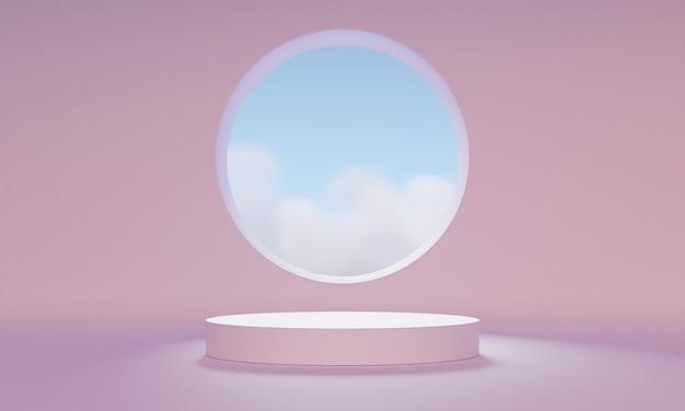 3d mock-up podium met een abstract rond raam in een lichtroze kamer. minimalistische halverwege de eeuw trendy achtergrond voor productpresentatie. moderne perron.