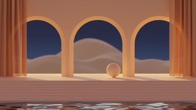 3d mock-up podium met een boog met gordijnen en abstract berglandschap of woestijn in een stijl van het midden van de eeuw.
