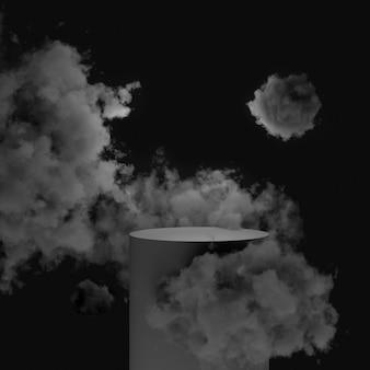 3d mock-up zwart podium op een zwarte achtergrond in de wolken.