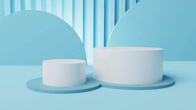 3d-mockup 2-fase witte cilindervertoning met interieur 3d achtergrond render, 3d illustratie