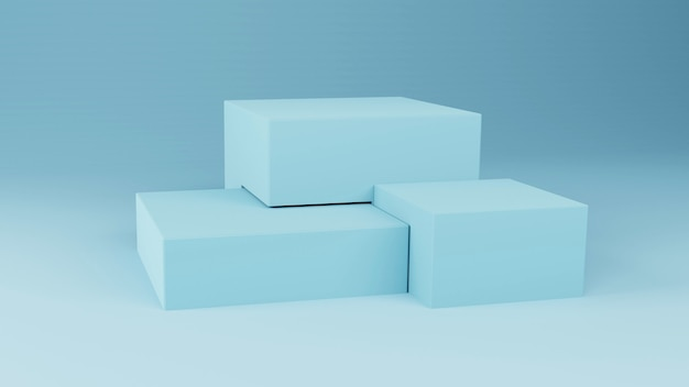3d mockup 3 kubuspodium op lichte ruimte. 3d-weergave
