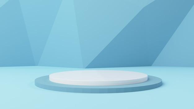 3d-mockup cilinder display met zachte blauwe abstracte achtergrond 3d render, 3d illustratie