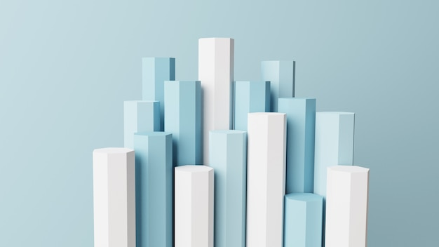 3d-mockup podium meerdere stick-display met blauwe achtergrond 3d render, 3d illustratie