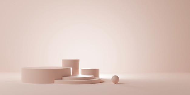 3d mockup podium voor productpresentatie meervoudige fase, 3d render