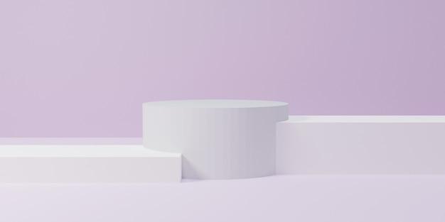 3d mockup podium voor productpresentatie, winnaar podium, meerdere witte blok podium zachte achtergrond, 3d render, 3d illustratie