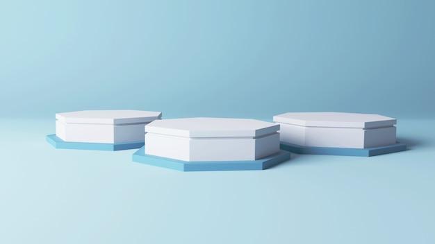 3d mockup podium wit 3 vijfhoekig display met zachte blauwe abstracte achtergrond 3d illustratie, 3d render