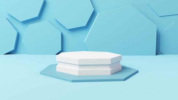 3d mockup vijfhoekige display met zachte blauwe abstracte achtergrond 3d illustratie