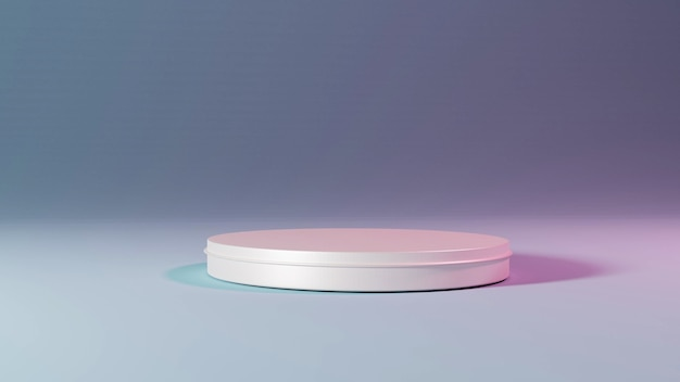 3d-mockup voetstuk van platform display cilinder wit podium op lichte kamer. 3d-weergave