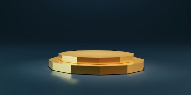3d-mockup voetstuk van platform gouden veelhoekige stand podium op zachte lichte kamer weergeven.