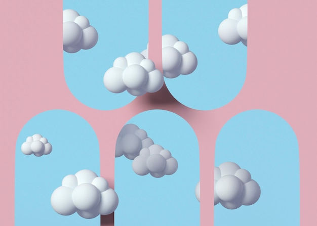 3d-model met witte wolkenregeling
