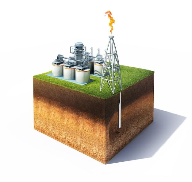 3d-model van de doorsnede van de grond met gras en olie- of gasraffinaderij met schoorsteen die een brandende vlam uitstraalt. opslagtanks van een petrochemische raffinaderij.