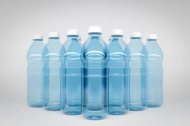 3d model van doorzichtige plastic flessen met een afmeting van 1,5 liter. flessen staan symmetrisch in even rijen in de vorm van een piramide op een wit geïsoleerde muur
