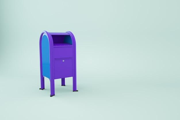 3d-model van een blauwe brievenbus op een afgelegen witte achtergrond. 3d-graphics, blauw mailbox-object. isometrisch model van de brievenbus. detailopname