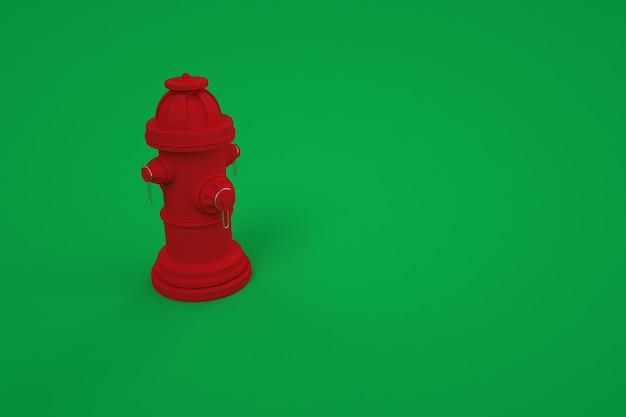 3d-model van een brandkraan. rode brandkraan, brandblusser. kleur achtergrond, computergraphics. red fire instrument op geïsoleerde groene achtergrond.