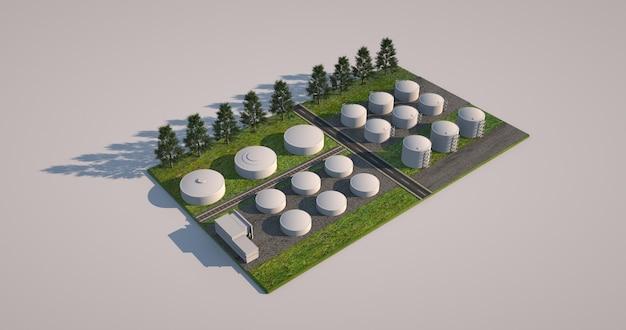 3d-model van een fabriek en een fabriekssite geïsoleerd op een witte achtergrond. 3d-locatie van objecten tijdens de bouw, project voor de bouw van industrieterreinen.