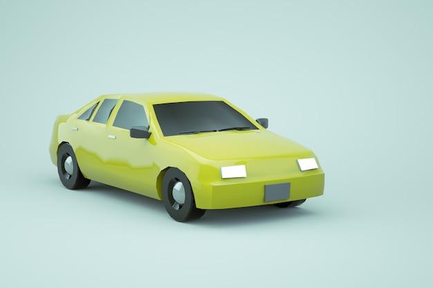 3d-model van een gele auto op een witte geïsoleerde achtergrond. gewone realistische gele isometrische auto op een witte achtergrond. gele auto met zijn koplampen aan. detailopname