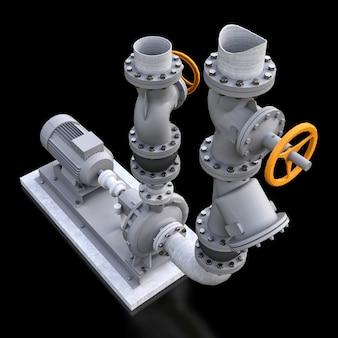 3d-model van een industriële pomp- en leidingsectie met afsluitkleppen op een zwart geïsoleerde ruimte. 3d-afbeelding.