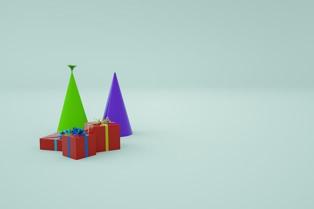 3d-modellen van feestelijke veelkleurige geschenkdozen met geschenken en doppen. feestelijk decor op een witte geïsoleerde achtergrond. feestelijke sfeer, verjaardag, nieuwjaar, vakantie