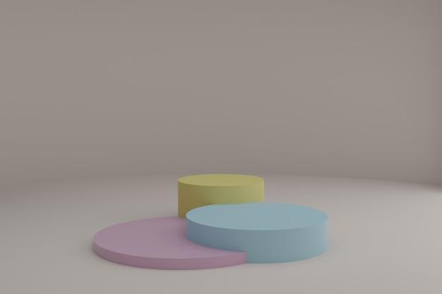 3d-modelleringsscène met ronde podia in rustige pastelkleuren blanco showcase-mockup