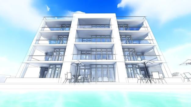 3d modern huis op witte achtergrond 3d illustratie