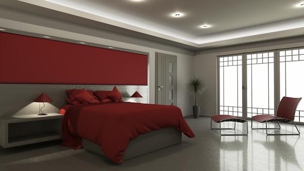 3d modern slaapkamerbinnenland