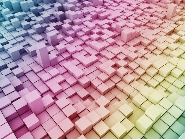 3d moderne achtergrond met regenboog gekleurde extruderende blokken