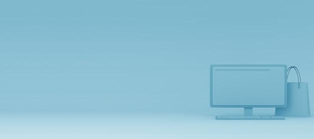 3d moderne computer voor online marketing