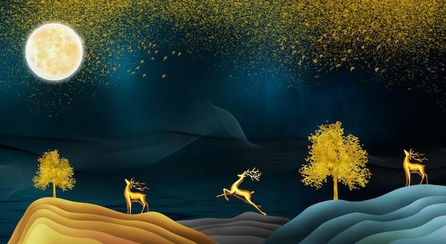 3d moderne kunst landschapsbehang met donkerblauwe blauwe achtergrond gouden kerstboom en berg
