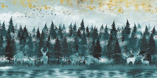 3d moderne kunst muurschildering behang met donkere jungle bos achtergrond herten paard en giraf