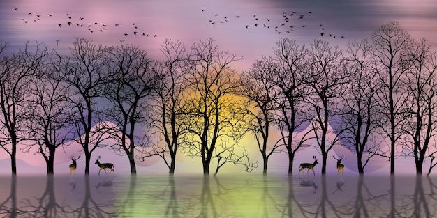 3d moderne kunst muurschildering landschap behang met donkere jungle bos achtergrond zwarte kerstbomen